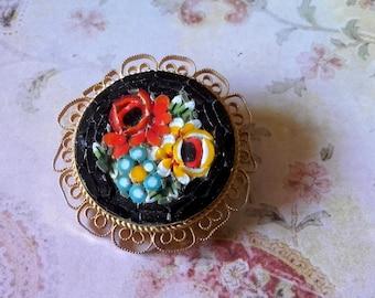 Vintage 60's Italian micro mosaic black flower floral pin brooch