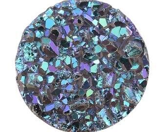 Titanium Green Drusy Quartz Loose Gemstone Round Cabochon 1A Quality 7mm TGW 0.70 cts.