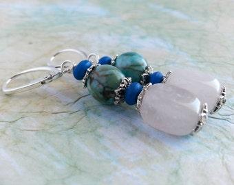 Rose quartz and blue stone top quality leverback earrings, European leverback earrings, Australian jewellery, hypoallergenic beaded earrings