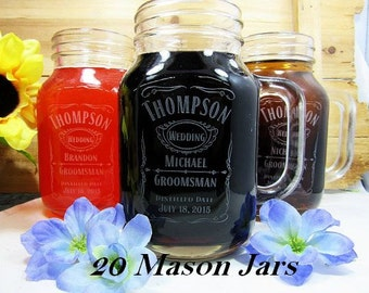 Set of 21 Glassses, Keepsake Toasting Glasses for Rehearsal Dinner and Reception / Personalized Mason Jar with Handle / Groomsmen Gift Ideas