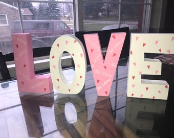 love chunky wood block letters valentines day decor