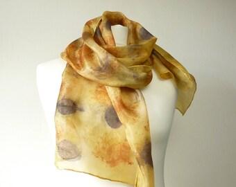 eco print silk scarf gold scarf gold silk scarf orange scarf orange silk scarf eco print scarf eco friendly scarf eco print cotinus scarf