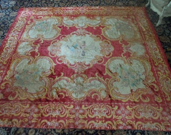 Incredible Victorian Tapestry Blanket in Remarkable Condition (6 1/2' by 7') (Weighs Over 10 Pounds!)