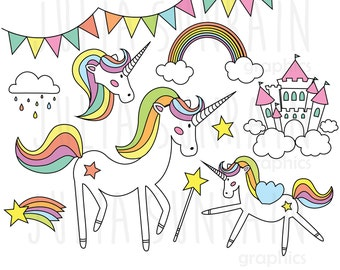 Unicorn Clipart & Vector Set - Instant Download - Personal and Commercial Use - Love