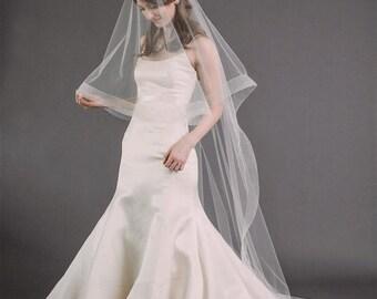 LILY VEIL | chapel length veil with horsehair trim, veil with blusher, drop veil, circle veil, wedding veil, bridal veil