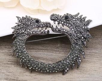 SNAKE Brooch BLACK Brooch Crystal Brooch Pin Rhinestone Brooch Bouquet Brooch Sash Pin Bridesmaid Gift Wedding Supply Wedding Embellishment