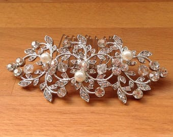 Silver crystal and pearl bridal hair piece