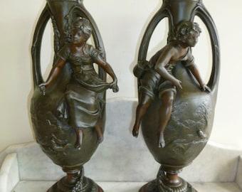 Pair of French figural Art Nouveau bronze spelter vase signed F. MOREAU – c.1900