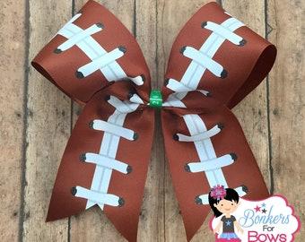 football cheer bow, laces cheer bow, football hair bow, football bow