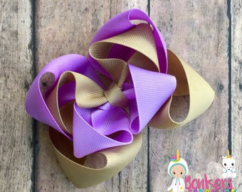 Peanut butter and jelly bow, purple and khaki bow