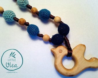 Dove of Peace, Palestine Jewelry, Teething Necklace, All Natural, Olive Wood, Hand Crocheted, Blue Beads, For Mamasd, Chewable Necklace