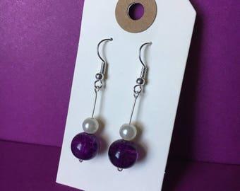 Purple Beaded Drop Earrings