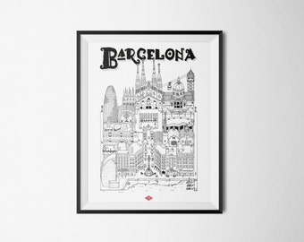 Barcelona - series illustration * Travel With Me * | Black and white | 21 x 29.7 cm