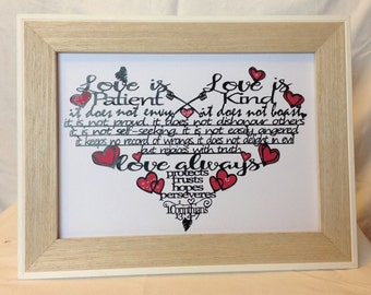 Love Is... 1 Corinthians 13:4-7 - papercut  - baptism gift, Christian faith gift -