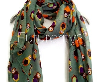 Russian Dolls Teal Green Scarf Summer Scarf / Spring Scarf / Gift For Her / Womens Scarves / Fashion Accessories
