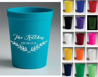 16 oz Personalized Wedding Cups, Party Favors, Stadium Cups, Party Cups, Custom Cups - Free Shipping