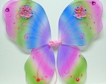 Fairy Wings, Child Fairy Wings, RAINBOW Wings, Butterfly Wings, Polka Dot Rainbow FLOWERS, Bright Pink HEART Gems
