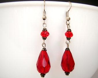 Red Crystal Dangle  Silver Earrings