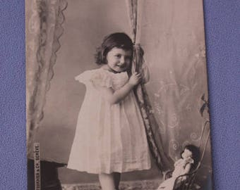 Vintage French Postcard, Young Girl With Doll