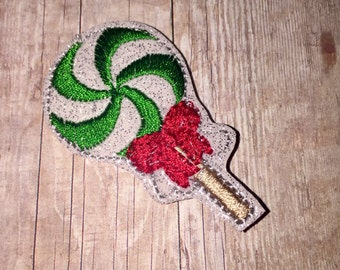 Set of 4 Christmas Candy Lollipop Red and Green Glitter Feltie Felt Embellishment Bow! Felties Applique Party Oversize Oversized Planner