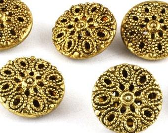 Vintage Gold Metal Filigree Button 13mm