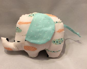 Mint green feather/polka dot stuffed elephant/nursery decor