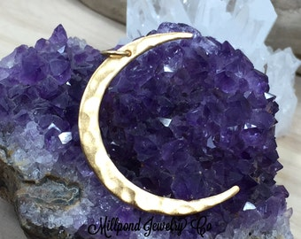 Crescent Moon Charm, Moon Charm, Moon Pendant, Celestial Charm, Gold Plated Sterling Silver, Necklace Charm, Necklace Pendant