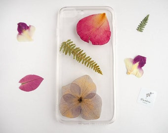 iPhone 7 Plus case, real pressed flower phone case, resin floral bumper case