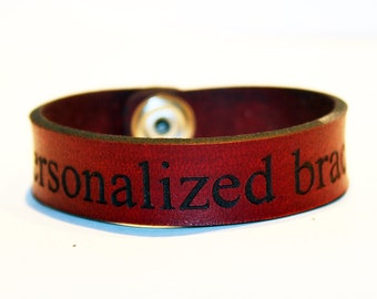 Personalized leather bracelet. Custom leather cuff. Redleather cuff bracelet. Great gift for women. Great gift for men. Presonalized gift!