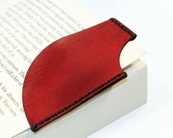 Leather bookmark, Red bookmark, Bookmark Corner, Gifts for Booklover, Gifts for bookworms.