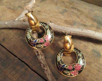 vintage gold tone blue cloisonne pierced earrings