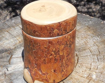 Tall Pinon Salt Cellar / Treasure Keeper with Drop-on Lid.  May be purchased alone or with Maldon Sea Salt.