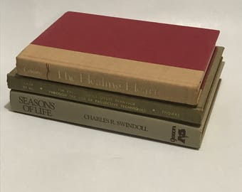 Books stack of 3 for home decor,weddings,Goth Beige