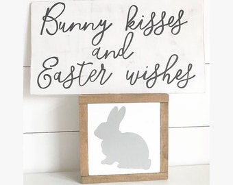 Easter sign - bunny sign - bunny kisses and easter wishes - easter
