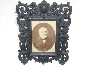 Antique French Napoléon III Enonite black Frame , gutta percha picture frame 1800s / 19th century Photo Vulcanite ornate frame