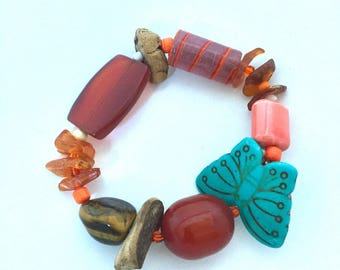 Turquoise and Amber stretch bracelet