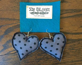 Fabric Earrings Heart Collection #5