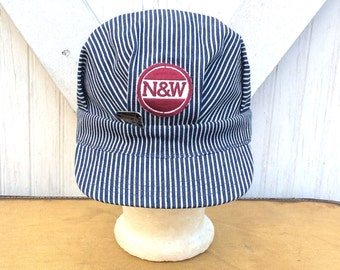 NOS Vintage Antique Estate Blue and White Stripe Railroad Train Engineer Conductors Hat N&W Railroad Patch and Old 611 Steam Engine Hat Pin