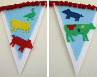 Farm themed bunting personalised with any name/word any colour combo custom made to order boy girl unisex room birthday party celebration