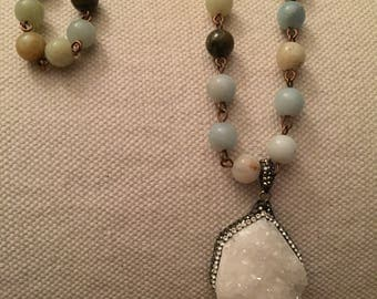 Long necklace white druzy and amazonite