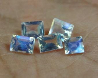 8 Pieces lot Natural RAINBOW MOONSTONE, 4 - 5 mm Size Rectangular Shape Gemstone, Faceted Rainbow Moonstone, High Quality Gemstone Beads