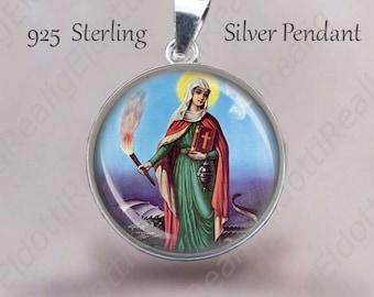 St Martha w Dragon Pendant. Catholic Medal 925 Sterling Silver Medal. Saint Patron Protection Catholic Jewelry. NEW