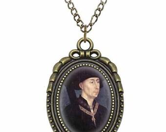 St Ivo of Kermartin Catholic Necklace Bronze Medal w Chain Oval Pendant Saint Vintage