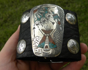 Buffalo Bison Leather cuff Rock star  Bracelet vintage Ketoh inlay Peyote bird  sun tentsterling silvers Navajo Indian  Kokopelli bottons
