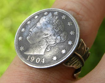 Vintage Liberty V Nickle coin adjustable sterling silver feather ring 8 to 10 size handmade  sizable