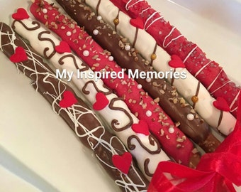 Mothers day chocolate, Anniversay chocolate gift box of 6, gourmet chocolate, I love you chocolate pretzels, Valentine's chocolate