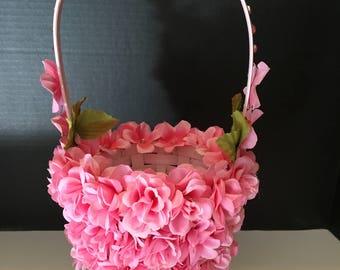 Pink Flower Girl Basket