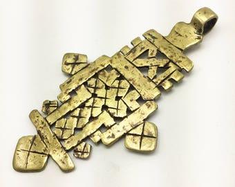 Extra large Ethiopian Coptic Cross brass pendant, handmade jewelry supply, 90x52mm, Jewelry making supply, DIY jewelry, African jewelry
