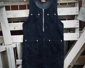 Vintage 90s Corduroy Black A-line Dress (Size Medium)