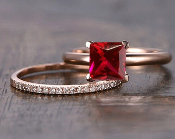 Limited Time Sale: 1.25 Carat Red Ruby  (princess cut Ruby) and Diamond Engagement Bridal Wedding Ring Set in 10k Rose Gold